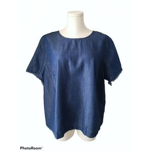 Eloquii Denim Top with zippered back size 16